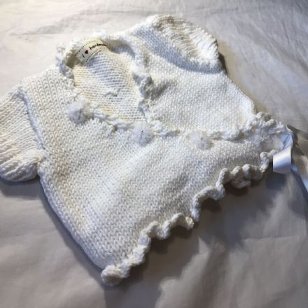 3-6 Month White Cross Over Cardigan.